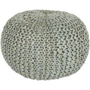 """20"""" x 14"""" Intricate Detail Dove Gray Hand Crafted Jute Round Pouf Ottoman"""