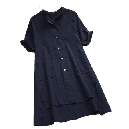 Womens Cotton Linen Shirt Dress Button Midi A-Line Sundress