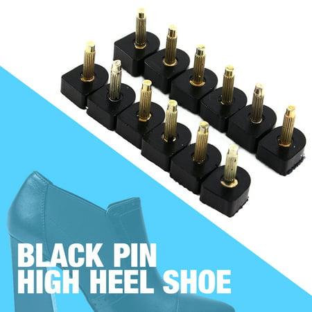 60PCS/30 Pairs Women's High Heel Shoe Repair Tips Stiletto Repair Heel Caps Kit Pin Taps Dowel Lifts Replacement (5 Different Size),Black ()