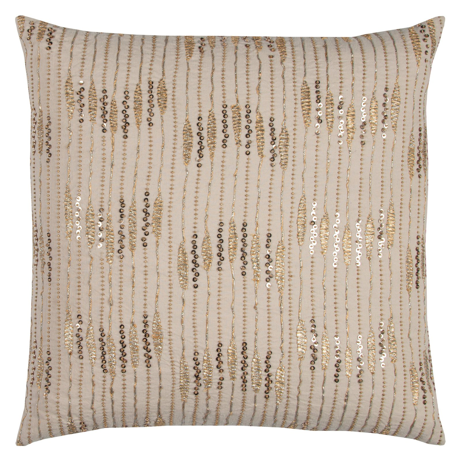 "Rizzy Home Decorative Poly Filled Throw Pillow Stripes 20""X20"" Gold"