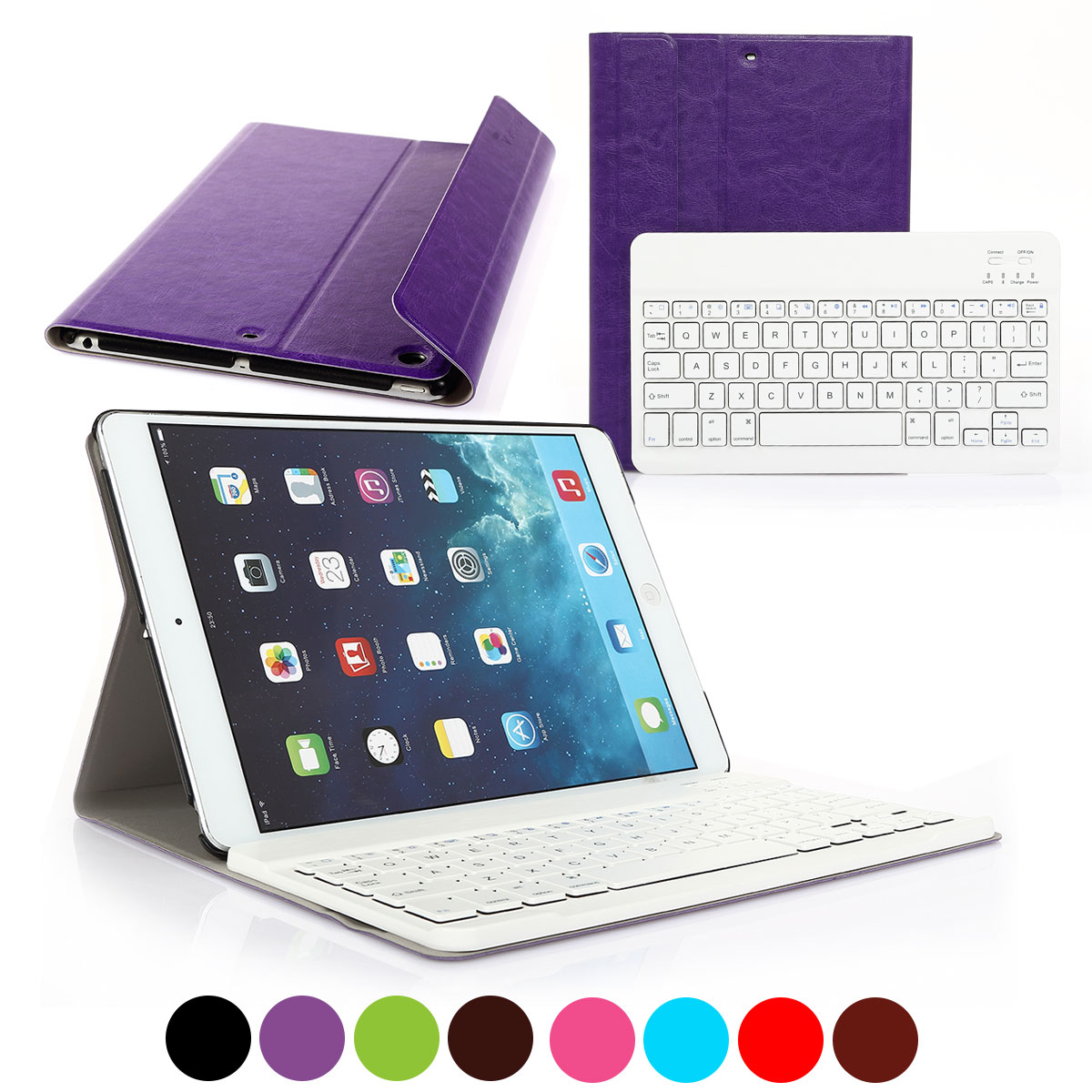 CoastaCloud Wireless Bluetooth Keyboard Case For Apple NEW iPad 2017  9.7 inch  with Stand Folio Case Cover Rechargeable USB Cable Removeable Keyboard PU Leather for iPad Air/iPad 5