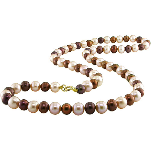 """Freshwater Cultured Off-Round  4-5 mm Brown & Pink Pearl Necklace, 18"""""""