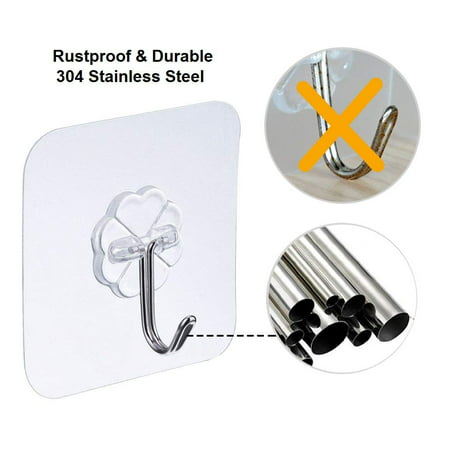 Amerteer 24 Pack Transparent 10KG per Sticky Hook Heavy Duty Load Nail Free No Scratch Seamless Sticky Wall Hooks Waterproof and Oilproof for Kitchen Wall Door Bathroom and Ceiling Hanger - image 3 de 9