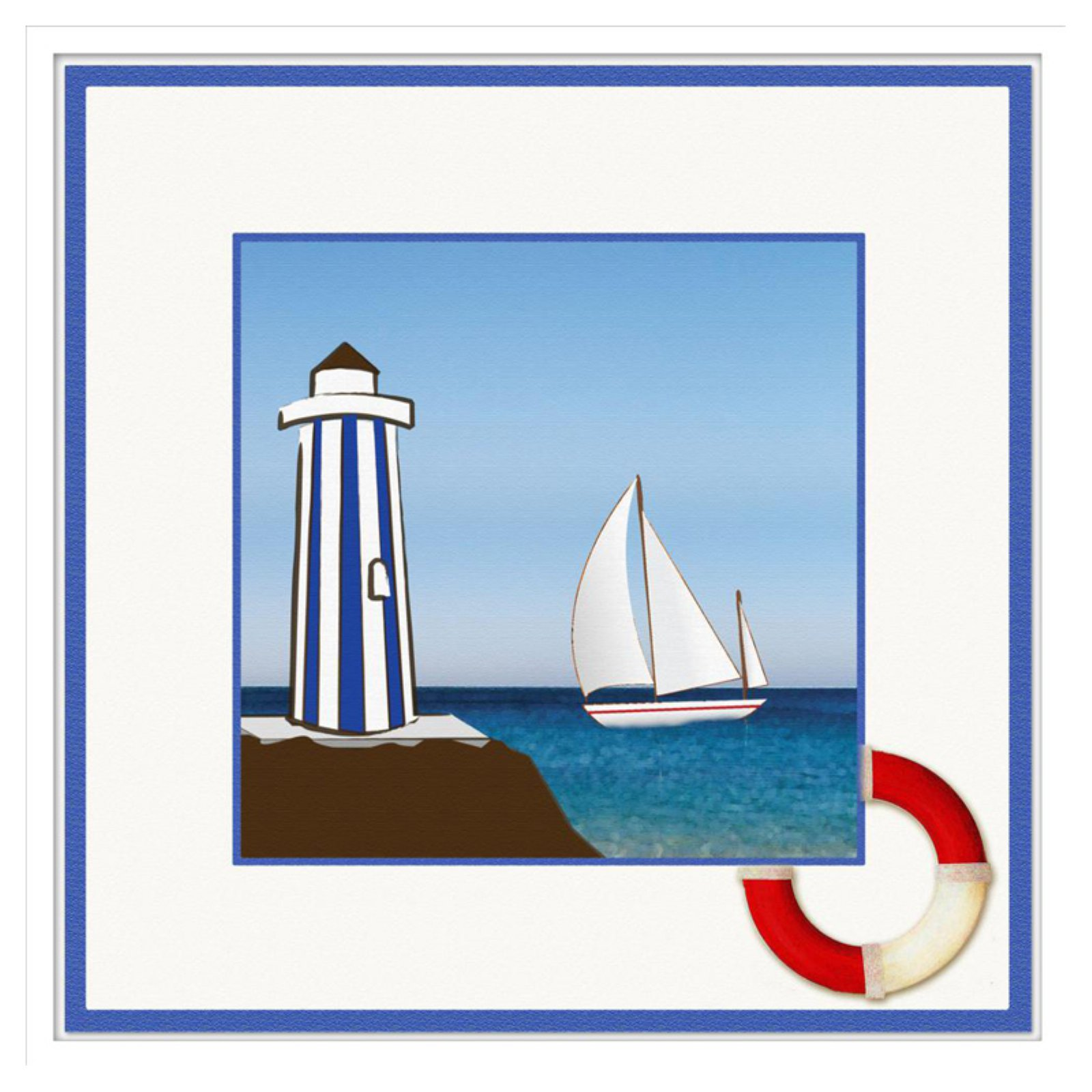 PTM Images Lighthouse On The Beach II Decorative Framed Canvas Wall Art
