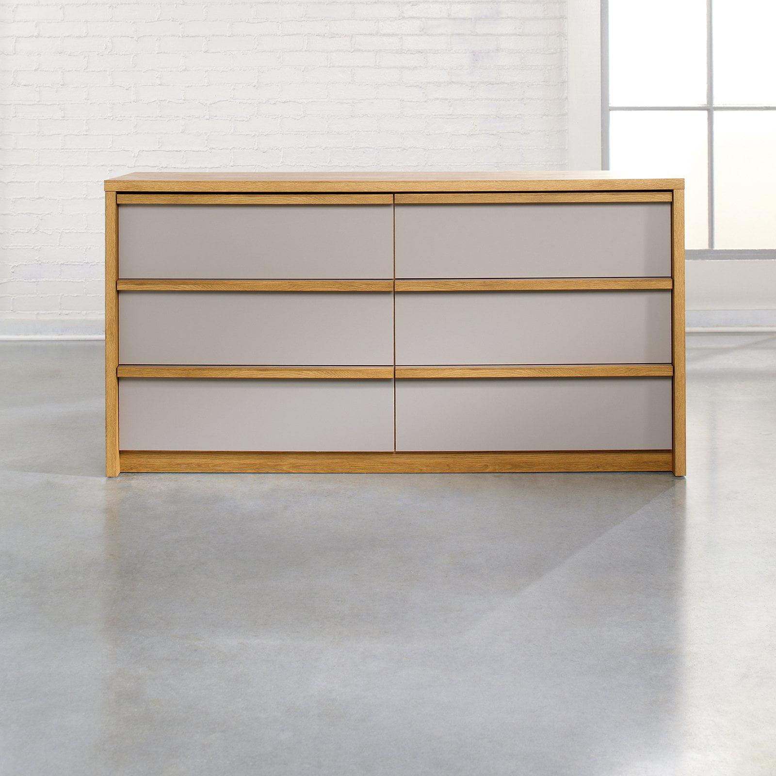 Soft Modern 6 Drawer Dresser - Pale Oak