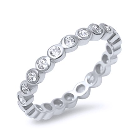 Women's Sterling Silver Round CZ Bezel Stackable Ring Eternity Band 3MM ( Size 4 to 10 )
