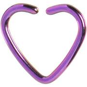Purple Hollow Heart Closure Daith Cartilage Tragus Earring