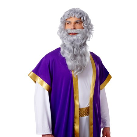 Biblical Long Grey Greek Roman Moses Zeus Wig Beard Costume - Grey Beard And Wig