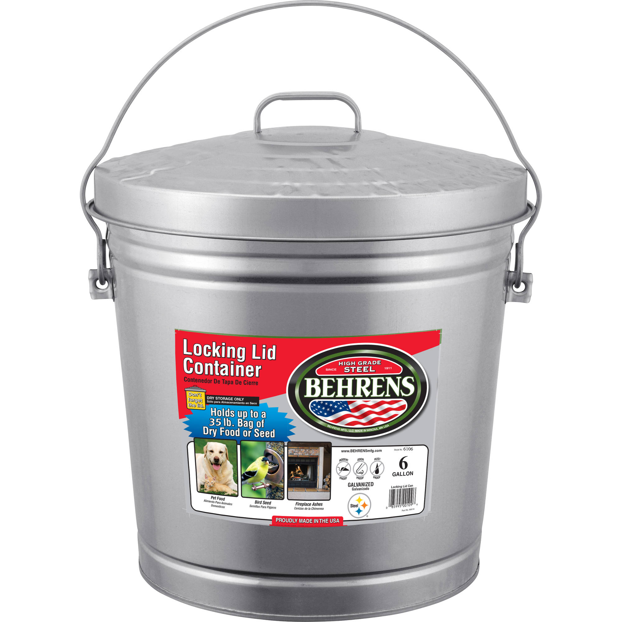 Behrens 6 Gallon Galvanized Steel Locking Lid Can