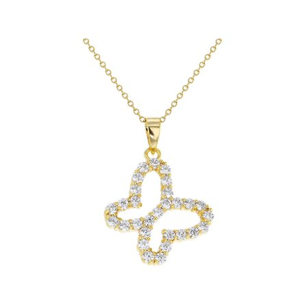 18k Gold Plated Clear Crystal Butterfly Pendant Necklace - 29 Necklace Clear Crystals