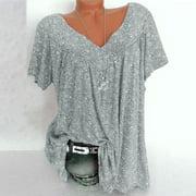 Flywake Women Plus Size Tops Short Sleeves V-Neck Print Blouse Pullover Tops Shirt Tops Blouses Tshirts