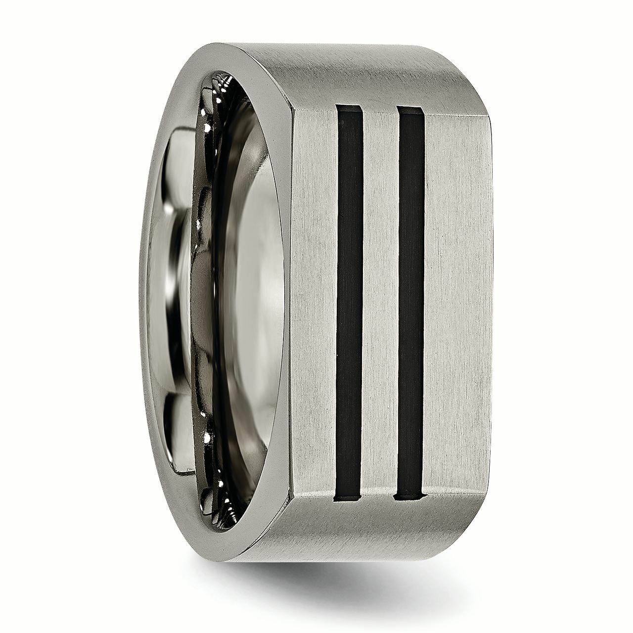 Perfect Jewelry Gift Titanium 10mm Black Enamel Stripes Brushed Band