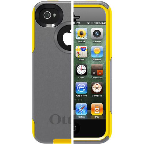 OtterBox Commuter Case for iPhone 4S, Gunmetal Grey Plastic/Sun Yellow Silicone