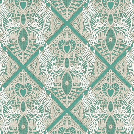 love bird lace mint Stretched Canvas - Sharon Turner (12 x 6)