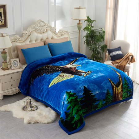 Double ply Eagle Printed Heavy Thick Super Warm Winter Raschel Mink Blanket Queen Size 79