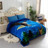 """Double ply Eagle Printed Heavy Thick Super Warm Winter Raschel Mink Blanket Queen Size 79"""" x 95"""",8lb"""