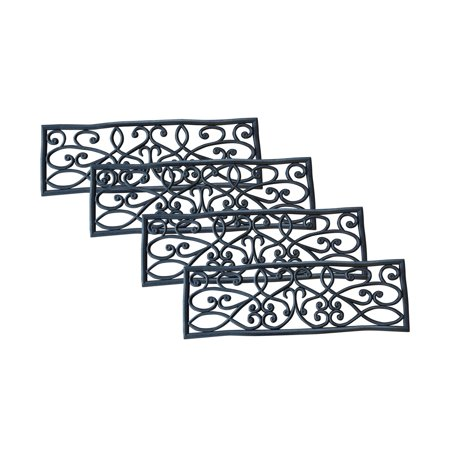 Offex Non-slip Heavy Duty Rubber Scrollwork Stair Tread - 4 Pack