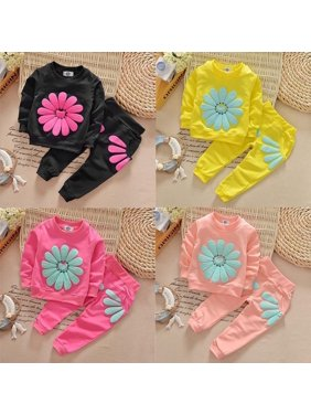 New Kids Infant Baby Girls Clothes Sets Jumper Tops Pants Outfit Clothing Set Spring Fall Long Sleeve Sun Flower Cute T-shirt