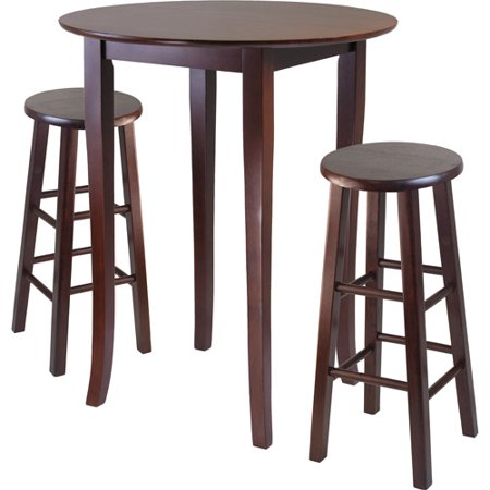 3-Piece Fiona High Dining Set with Essential Stools, Multiple Finishes ()