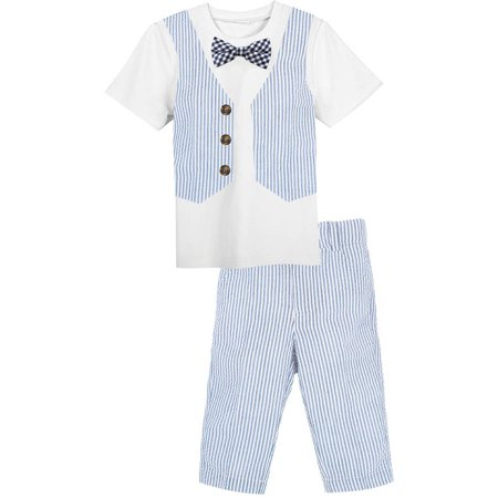 - Little Boys White Tee with Seersucker Vest and Pant Outfit Set, Available in Size 4-7