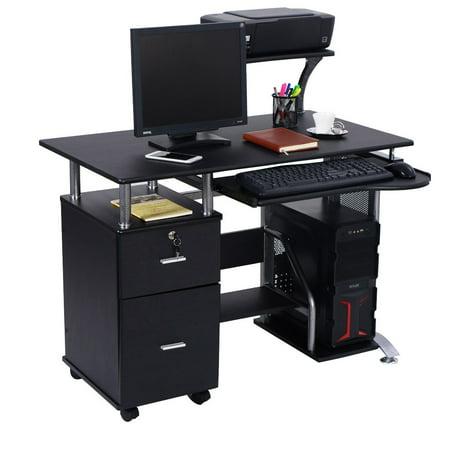 Costway Computer Desk Pc Laptop Table Workstation Home Office Furniture W Printer Shelf