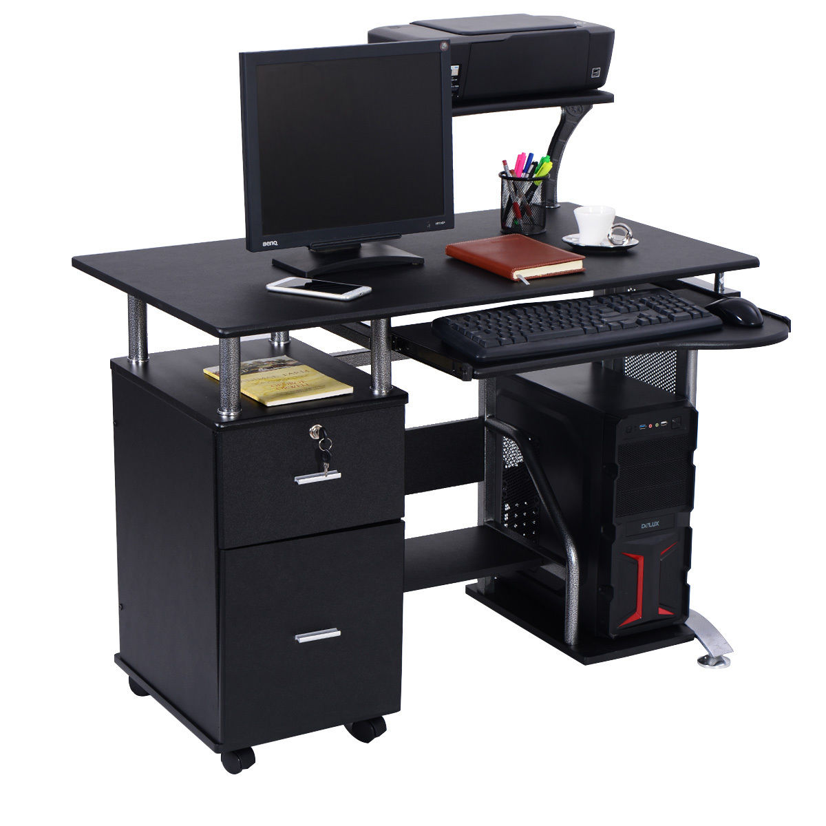 Costway Computer Desk PC Laptop Table WorkStation Home Office Furniture W/  Printer Shelf