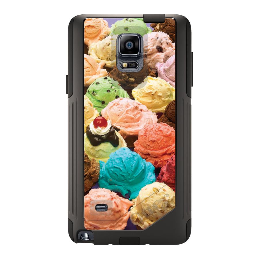 DistinctInk™ Custom Black OtterBox Commuter Series Case for Samsung Galaxy Note 4 - Ice Cream Scoops Cones