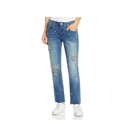 Blank NYC Womens Embellished Distressed Girlfriend (Blank Nyc Crop Girlfriend Medium Wash Distressed Jeans)