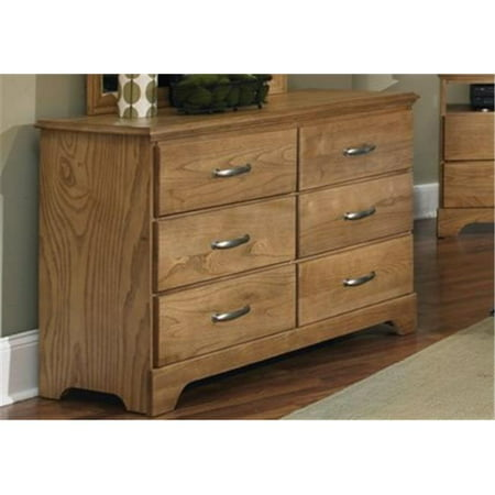 Carolina Furniture Works 495600 Dresser Double 6 Drawer Clear Oak