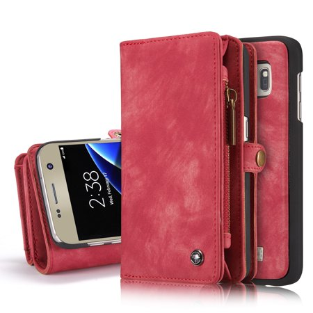 new arrivals ba2c0 e055a Galaxy S7 Edge Wallet Case, Alleytech 2 in 1 Handmade Leather Zipper Wallet  Case with Detachable Cover & Card Cash Pocket + Magnetic Clasp Closure for  ...