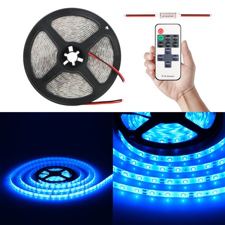 Wireless Blue LED Light Strip Kit, Premium High Density SMD3528-16.4 Feet, 300 LEDs, 164 Lumens per Foot. UL-Listed. 12V DC Tape Flexible Interior Light