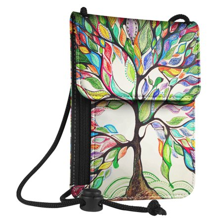 Fintie Passport Holder Neck Pouch [RFID Blocking] Premium PU Leather Travel Wallet, Love Tree
