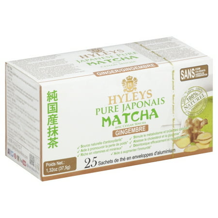 - Hyleys Japanese Pure Matcha Tea with Ceylon Sencha, Ginger Flavor 25 Teabags 100% Natural Tea