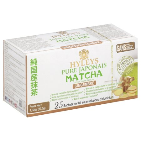Hyleys Japanese Pure Matcha Tea with Ceylon Sencha, Ginger Flavor 25 Teabags 100% Natural Tea