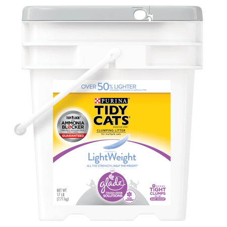 Purina Tidy Cats Light Weight, Dust Free, Clumping Cat Litter; LightWeight Glade Clean Blossoms Multi Cat Litter - 17 lb. Pail