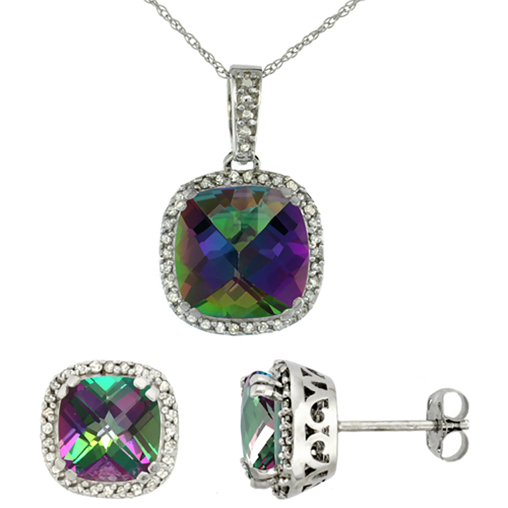 10K White Gold Natural Cushion Mystic Topaz Earrings & Pendant Set Diamond Accents by WorldJewels