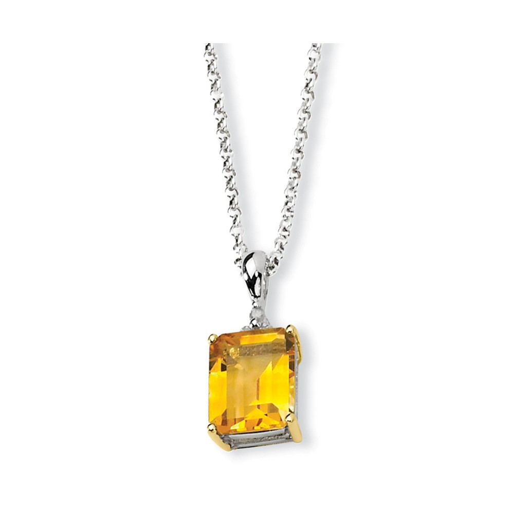 Sterling Silver & 14K Yellow Gold 18in Citrine & Diamond Necklace 2.975ct