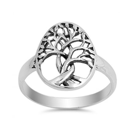 925 Sterling Silver Tree Of Life Designer Ring Size 6 ()