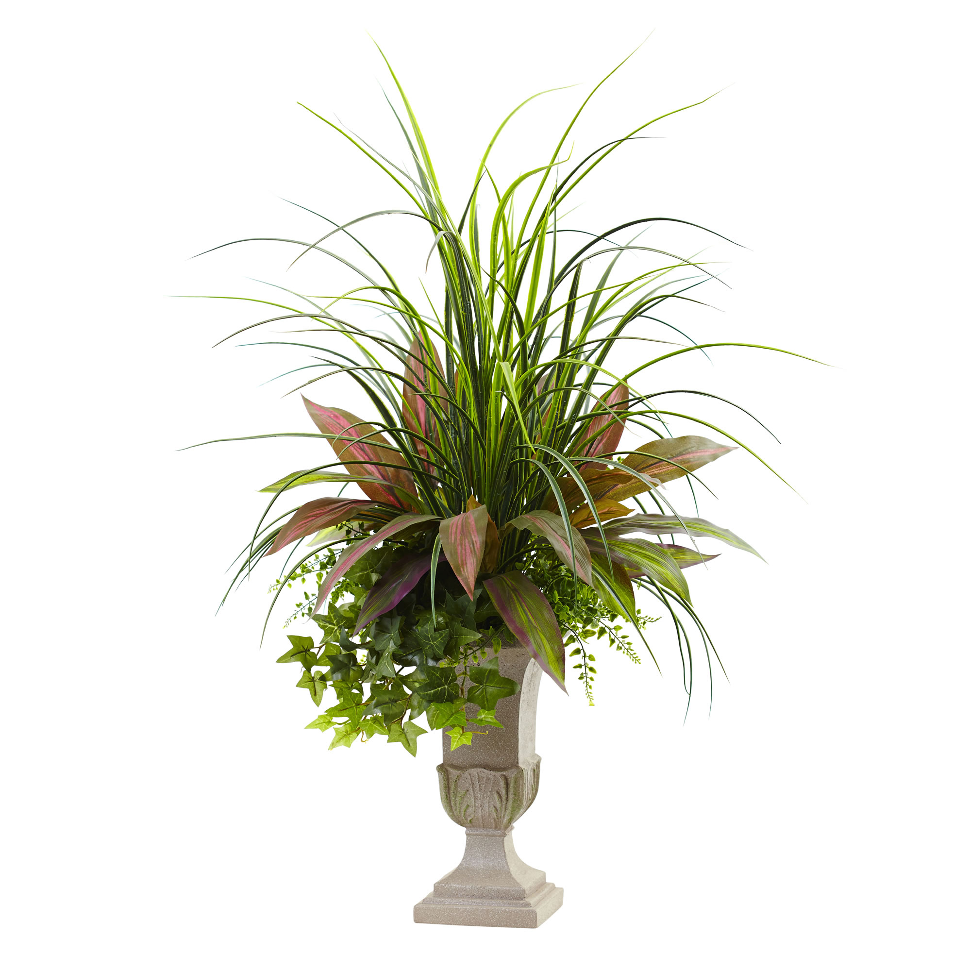 Nearly Natural 3 ft. Mixed Grass, Dracaena, Sage Ivy & Fern w/Planter