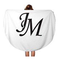 LADDKA 60 inch Round Beach Towel Blanket Abstract Jm Initial Monogram Antique Black Boutique Brand Classic Travel Circle Circular Towels Mat Tapestry Beach Throw