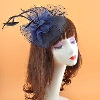 Women Fascinators Hat Flower Feathers Mesh Hair Clip Formal Cocktail Tea Party Wedding Hair Accessory Headwear