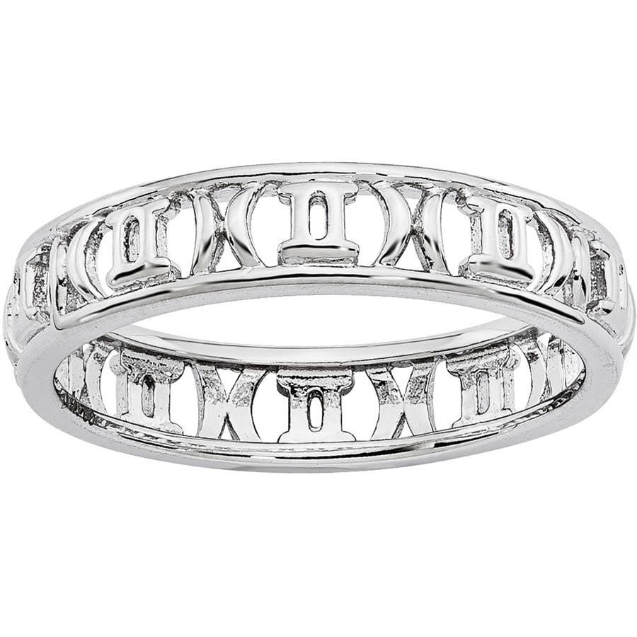 Sterling Silver Gemini Ladies Zodiac Sign Ring