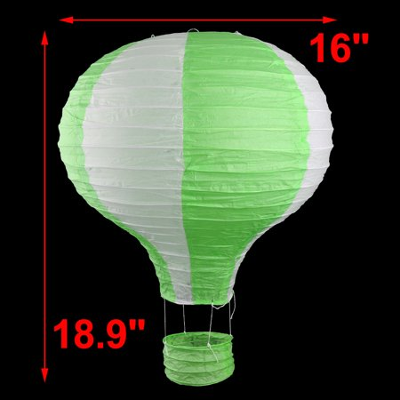Household Party Paper Lightless Hanging DIY Decor Hot Air Balloon Lantern Green White 16 Inch Dia - image 1 of 6