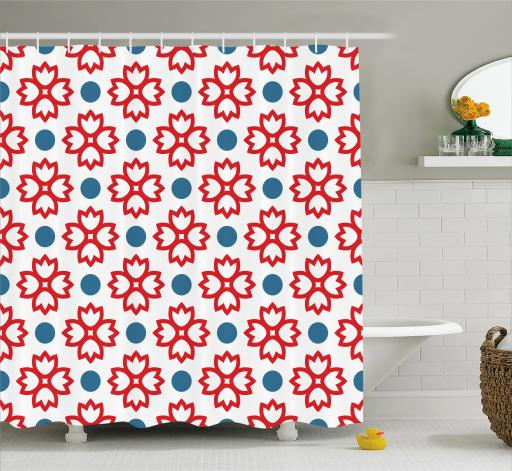 Floral Shower Curtain, Abstract European Traditional Polka Dots Symmetrical Natural Inspiration, Fabric Bathroom Set with Hooks, 69W X 70L Inches, Slate Blue Red White, by Ambesonne