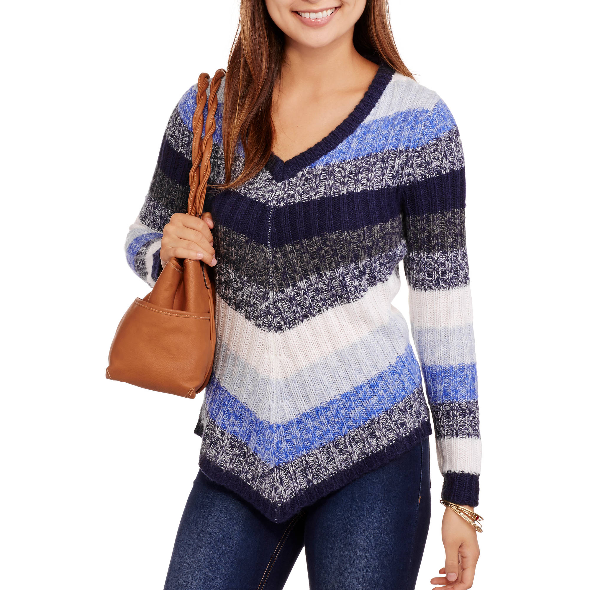 No Boundaries Juniors' Marled Striped V-Neck Sweater