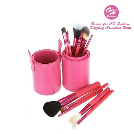 OH Fashion 12 pc Makeup Brushes Set, Pink, Powder, Eyeshadow, Blush , Foundation, Blending, Eyeliner, Lip - Great for Highlighting & Contouring. Includes cylindrical storage
