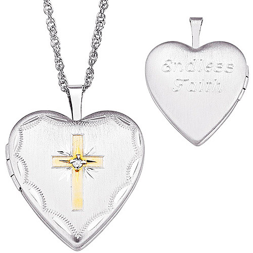 Personalized Two-Tone Diamond Accent Cross Sterling Silver Locket