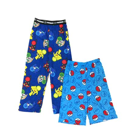 Boys Pokemon Pajamas Bottoms Lounge Pants & Sleep Shorts Set Pikachu & Rowlet - Pikachu Pants