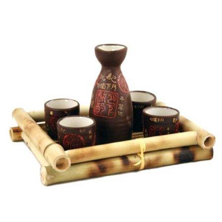 (Glazed Ceramic 5 Pcs Japanese Sake Set)