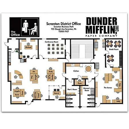Fan Art - Dunder Mifflin Floor Plan - 11x14 Unframed Art Print - Great Gift to The Office Fans, also a Great Office Decor